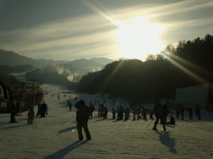 Ski resort sunset